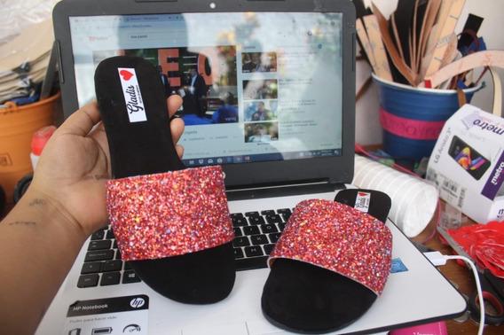 Sandalias De Piso Hecho En Mexico Escarcha Glitters Envio