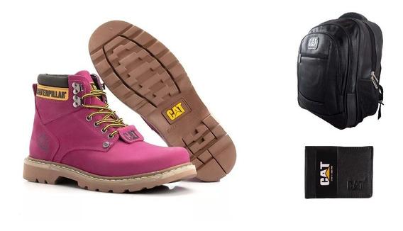 Kit Bota Coturno Botina Carterpillar+mochila Bolsa+carteira