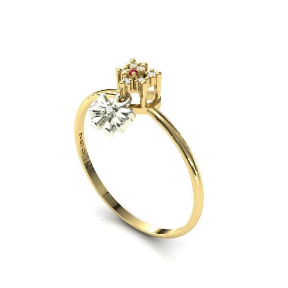 Anel 18k Coração Pingente Laço Rubi Diamantes - Cor Ouro