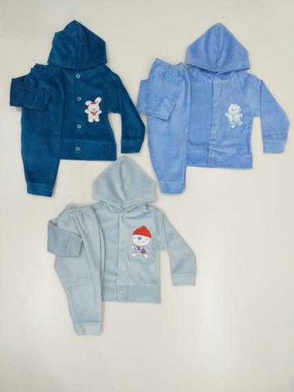 Roupa Bebê Kit 3 Conjuntos Plush Pmg Menina Menino Infantil