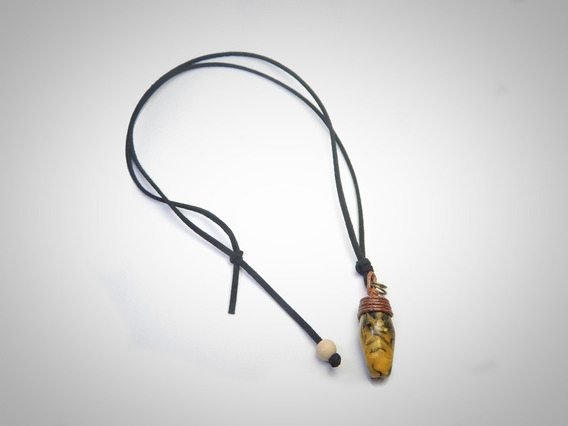 Colar De Couro Pedra Dourada Amarela Masculino/feminino