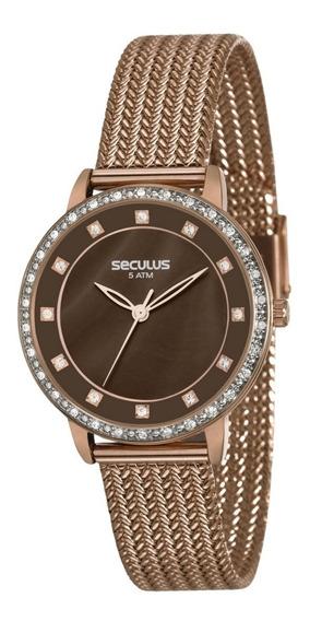 Relógio Feminino Seculus Aço Marrom 13021lpsvxs3 Analógico