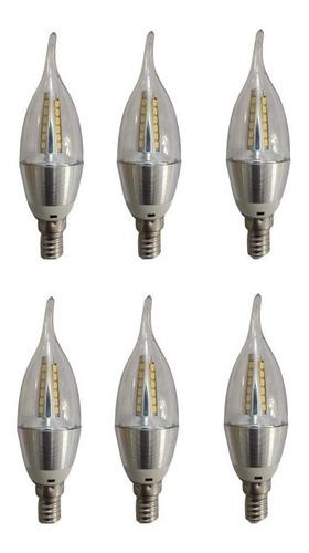 Kit 6 Lâmpada Led Vela 5w E14 Bivolt Lustre Pendente Linda