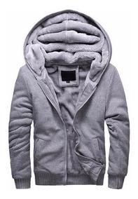 Blusa Jaqueta De Frio Masculina Com Capuz E Forro De Pelo