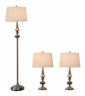 Juego De 3 Lámparas Acabado Latón Antiguo Hogar Decoración