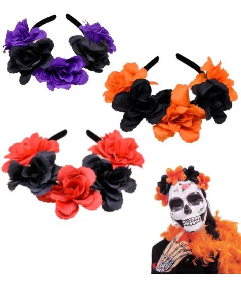 6 Pzas Diadema De Flores Colores Disfraz Catrina Frida Kahlo