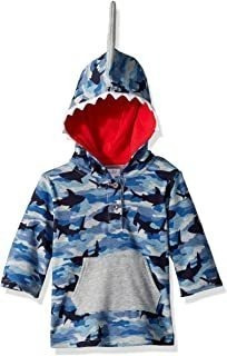 Mud Pie Baby Boys Camo Shark Hooded Swimsuit Cover Up, Blue,
