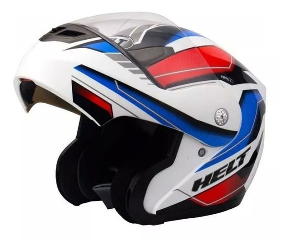 Capacete Helt Escamoteável 936 Hippo Rider Branco/azul