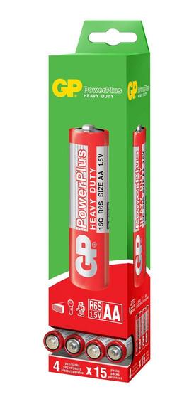 60 Pilhas Aa Comum Powerplus Gp Zinco Carvão - 01 Caixa