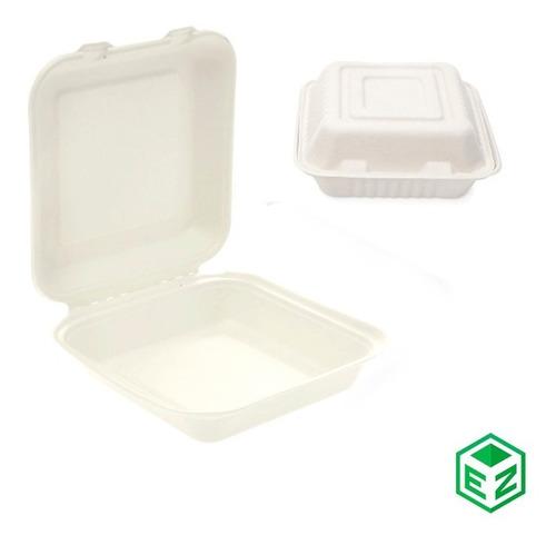 Imagen 1 de 3 de Contenedor Desechable  Biodegradable Bagazo Caña 8x8 200 Pza