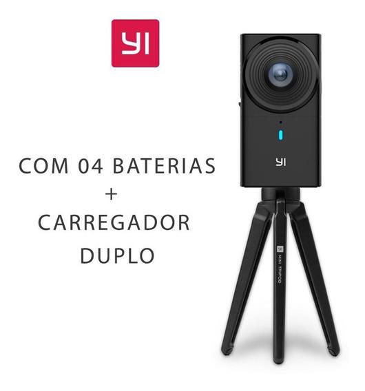 Camera Yi 360 Vr - Com Carregador Duplo E 03 Baterias Extras