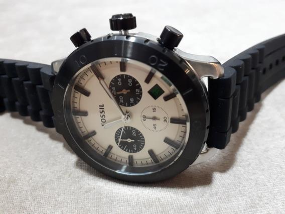 Relógio Masculino Original Fossil Preto Com Fundo Creme