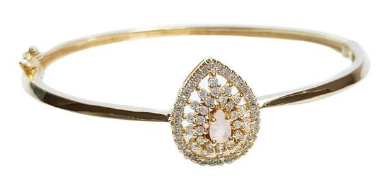 Pulseira Bracelete Feminino Gota Zircônia Rosa Banhado Ouro