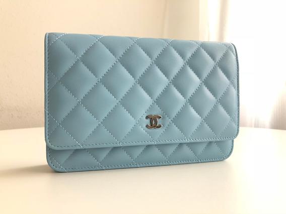 Bolsa Chanel Woc Lambskin Azul Metais Prata Com Caixa