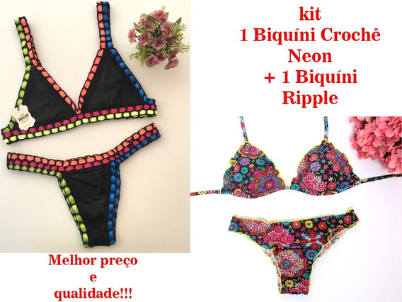 Kit 2 Conjuntos Biquíni: 1 Neon Crochê + 1 Empina Bumbum Top