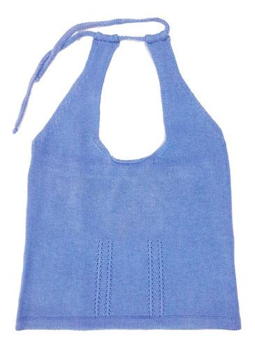 Blusa Frente Única Trico Verão Mesclada Blogueira Azul-jeans