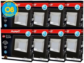 Kit Refletor Led 50w Branco Holofote Bivolt 8 Unidades Avant