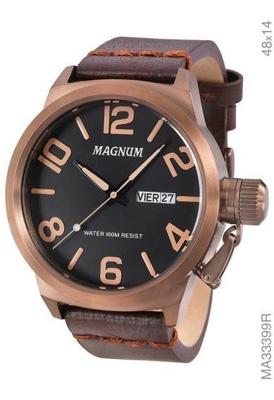 Relógio Masculino Magnum Military Em Couro Ma33399r