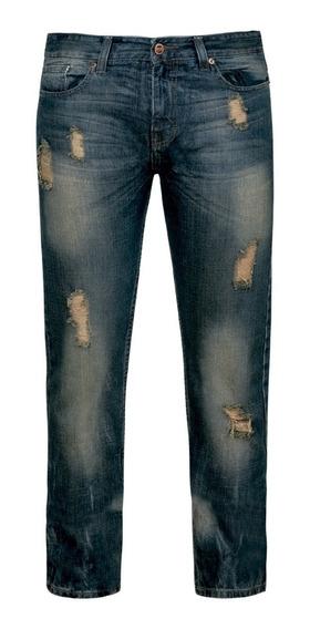 Farenheit Pantalones Jeans Mezclilla Deslavado Roto 6510531