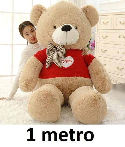 Urso Caramelo Claro Pelúcia 100 Cm 1 Metro + Roupinha Amor