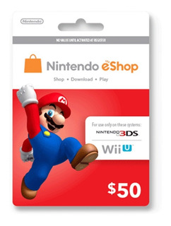 Tarjeta Nintendo Eshop 50 U$ Switch Wii U 3ds - Gamer24hs