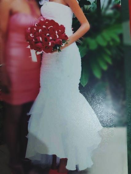 Vestido De Noiva Longo Branco Bordado Á Mão Barato Promoção