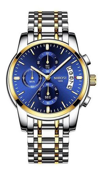 Relógio Masculino Nibosi Azul Original Prova D