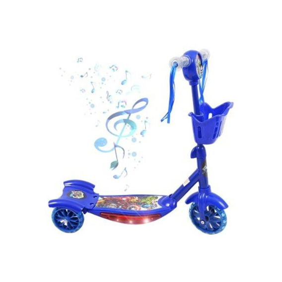 Patinete Musical Infantil Vingadores Com Luzes Cesta**