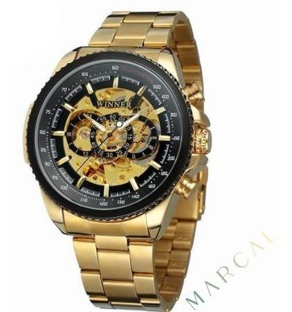 O Verdadeiro Relógio Mecânico De Luxo Skeleton 100% Original