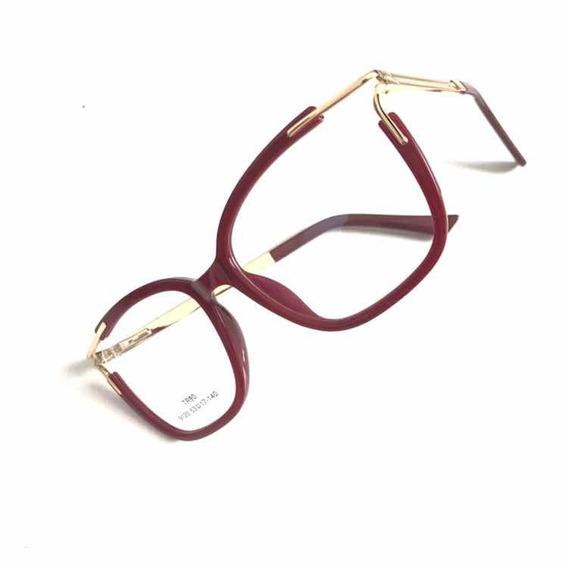 Óculos Sem Grau Armações Acetato Metal Geek Novidade C8818