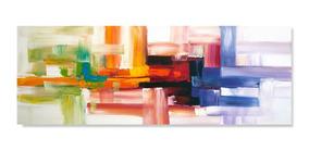 Quadro Abstrato Sala Quarto Tela Colorido 50x150 T.103