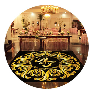 Pista De Dança Para Casamento Preto Com Dourado Ps23 - 3x3m