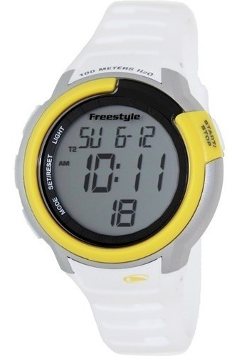 Relógio Freestyle Mariner Branco Amarelo Silicone Importado