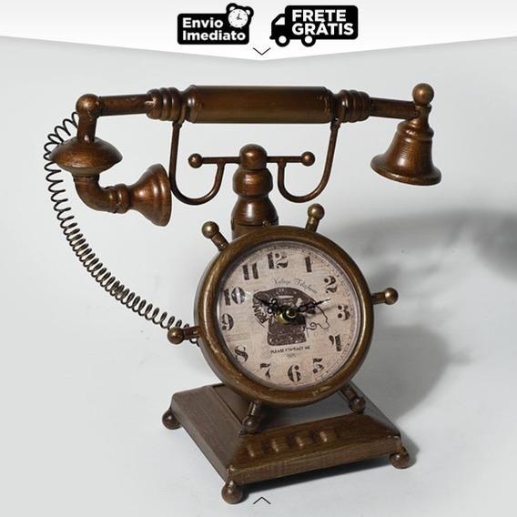 Relógio De Mesa Decorativo Telefone Antique Vintage