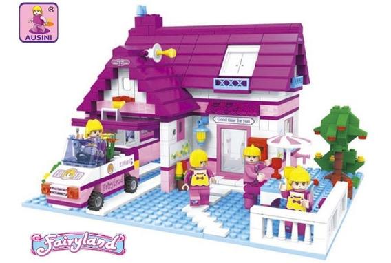 Blocos Montar Casa Bonecas Barbie Ausini 622 Pçs Lego