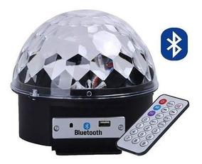 Globo Giratório Bola Maluca Lampada Led Mp3 Bluetooth Rgb