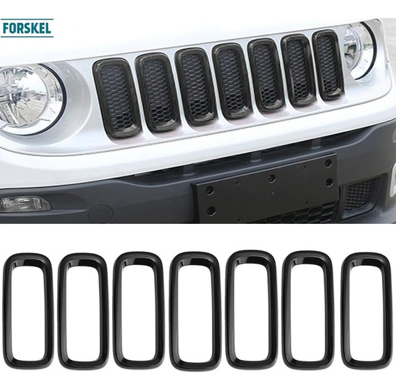 Friso Moldura Preto Brilho Grade Jeep Renegade Acessorios
