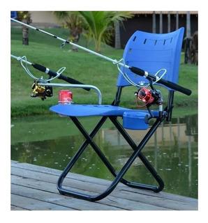 Cadeira Completa Pesque Pague Suporte Vara Porta Isca E Lata