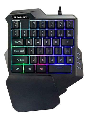 Imagen 1 de 1 de Teclado de una mano gamer Ele-Gate TC.16 color negro con luz 8 colores