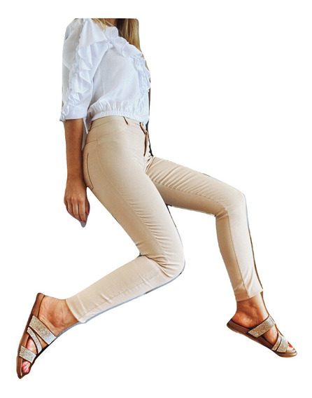 Pantalon Vestir Mujer Bengalina Elastizado Tiro Alto Chupin