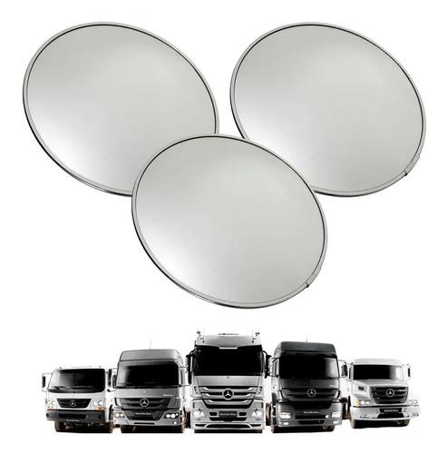 Kit 3 Espelho Biônico Convexo 90mm Base Alumínio Caminhão