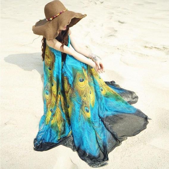 Tokio Vestido Largo Japon Pavoreal Playa Casual Boho Ysd-351
