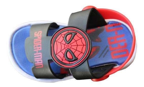 Sandalias Rojas Marvel Ironman Spiderman Niños Atomik Goma