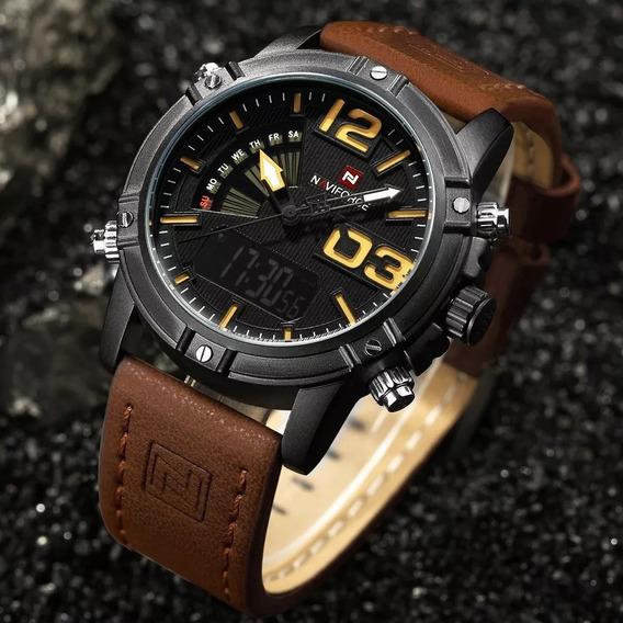 Relógio Masculino Naviforce Esportivo Militar Couro Original