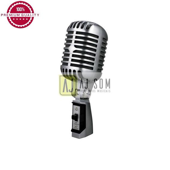 Microfone Vintage,cromado,dinâmico-alta Qualidade-anos 50