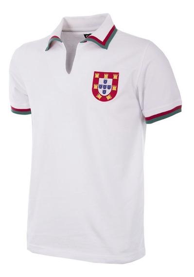 Camisa Retrô Gola Redonda Portugal Branca 1966