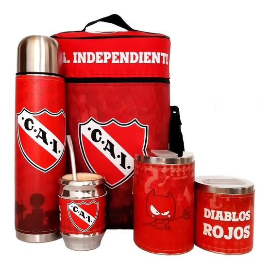 Equipo De Mate Completo Independiente Cuero Set Kit Matero