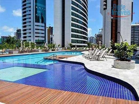Apartamento Alto Padrão Com 3 Dormitórios, Completo De Armários Com Ar Cassete Na Sala E Para Alugar, 103 M² Por R$ 5.000/mês - Boa Viagem - Recife/pe - Ap9283