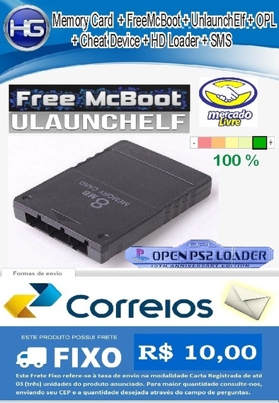 Memory Card Para Ps2 + Opl Atual + Fmcb (free Mc Boot) + Ulaunchelf + Hd Loader + Cheat Device + Sms