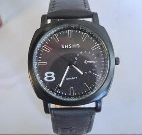 Relógio Masculino Quartzo Analógico, Pulseira De Couro Preta
